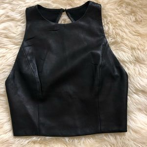 Backless pleather crop top